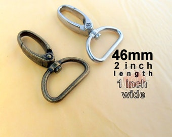 5 Pieces Swivel Spring Hooks - 2 inch long / 1 inch webbing capable (available in antique brass and nickel finish)
