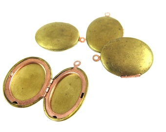 Raw Brass Oval Engraving Lockets (2x) (M894-A)