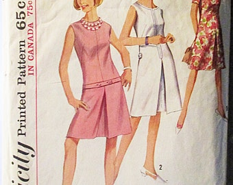 1960s Vintage Simplicity Sewing Pattern 6004 Misses One-Piece Dress Pattern Size 12 Bust 32