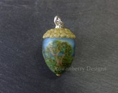 Handmade Lampwork Glass and Sterling Silver Painterly Tree Landscape Acorn Pendant - Rowanberry SRA