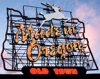 """White Stag Sign """"Made in Oregon"""" available as Panels or fine Art Prints"""