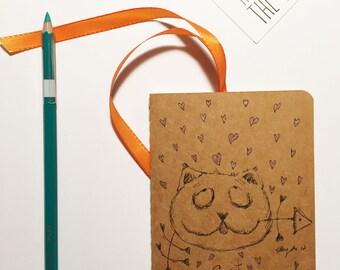 Cat lovers-Hand Drawn OOAK Pocket Moleskine