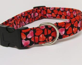 Red Hot Hearts Printed Handmade Dog Collar