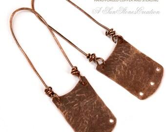 Reserve for Des - Handmade Rustic Copper Earring Components -  2pieces EC394