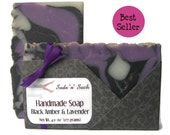 Black Amber and Lavender Handmade Vegan Soap - Decorative Soap - Colorful Artisan Soap