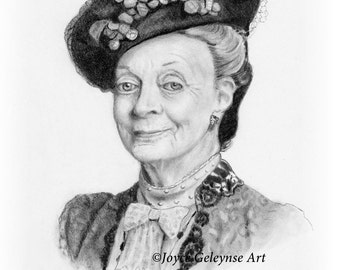Maggie Smith Pencil Portrait, Celebrity Portrait, Realism Art, Dowager Countess in Downton Abbey, Actress, Shipping Included