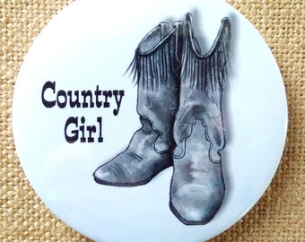 Country Girl, Fridge Magnet, Cowgirl Boots, Pencil Drawing, Love the Country, Cowboy, Western, Freehand Drawing, Three Inch Magnet