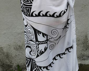 White and black tattoo tattau Pareo-100 percent-rayon- sarong-, pareau-fringeless-Tahitian costume, Tahitian pareo,