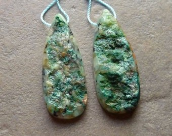 Chrysocolla Druzy Matched Earring Pair - 15x41mm