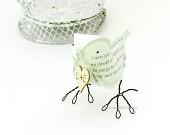 2nd Anniversary Gift Cotton Bird i carry your heart with me Green Bird with personalized heartmade to order check processing times