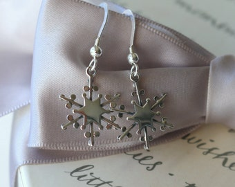 Snowflake earrings - Sterling Silver with or without crystals - choice of colors