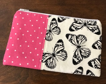 Zipper Pouch - Pencil Pouch - butterflies & pink polka dots