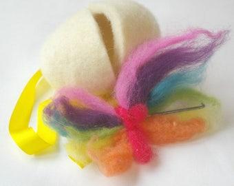 Naked Egg: Spring Needle Felting Craft Kit (All Natural DIY Easter Egg Needlefelting Project with Wool, Needle and Large Egg)