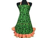 Green Shamrock Apron with Orange Polka Dot Ruffle , Adjustable with Pocket , Irish Kitchen Decor , St Patrick's Day