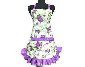 Lilac Apron for women ,  Green with Purple Retro Style Ruffle , Spring Flowers / Floral kitchen Decor , Pin Up Girl Style