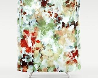 Shower Curtain, Watercolor Bathroom, Pastel Watercolor, Green Shower Curtain, Art Shower Curtain, Green Bathroom Decor, Abstract Art Bath