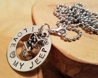 I Love My Jeep hand stamped aluminum washer pendant charm necklace OIIIIIIIO