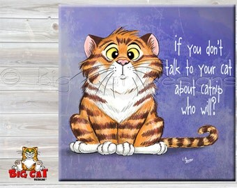 TALK ABOUT CATNIP tile,  Cat Spoon Rest. Cat Sign, Cat Friendship Gift, Cat Lover Gift.  Funny Cat Gift.