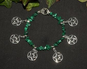 Malachite and Pentagram Charm Bracelet - Pagan, Wicca, Witchcraft, Pentacle, gemstone