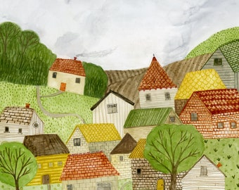 Little Village archival art print - available in 3 sizes