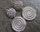 Fine Silver Large Textured Disk PMC Earrings