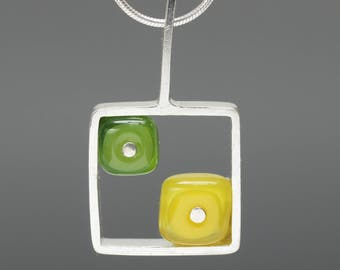Summer Jewelry - Handmade Yellow and Green Necklace, Square Necklace, Modern Glass and Silver Necklace, Art Glass Necklace