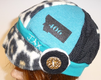 Toddler Jax Hat in black and teal - sweater weight toddler hat - recycled sweater hat with flower - cheetah print and teal jaxhatsmontana
