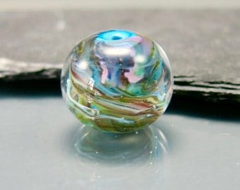 Handmade Lampwork Spaghetti Striped Focal Bead by GlassBeadArt  ... SRA F12 ... 16x18mm  round shaped freeformed focal