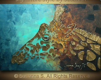 Giraffe ORIGINAL animal painting abstract texture modern art on canvas by Susanna 36x24 Made to Order