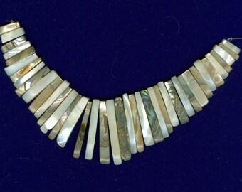 Stick Bead Fan, 40 Piece Abalone Mother of Pearl Maxi Cleopatra Collar Fan Beads 41 Piece Graduated Stick Bead Set 462M