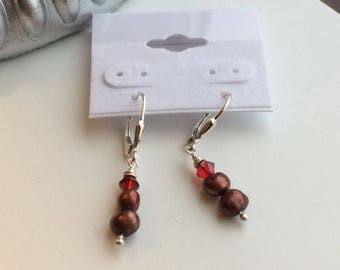 Red Pearl Earrings ~ Freshwater Pearl ~ Swarovski Crystal ~ Wedding ~ Bridesmaid ~ Sterling ~ FREE SHIPNG