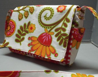 Crossbody Pocket Bag/Purse or Shoulder Carry, Summer Purse, Michael Miller Ooh La La Fabric