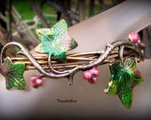 Ivy and Vines Pink Berry Wire Wrap Spring Design filigree twisted vines bracelet for women