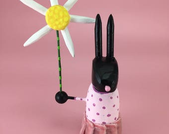 Black Rabbit Sculpture with Pink Easter Dress | Easter Bunny | Spring Rabbit | Bunny Rabbit with Daisy