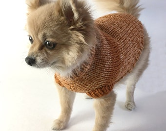 Knitted Dog Sweater in Orange Creamsicle with Rust Stripe - SMALL