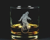 BLACK FRIDAY SALE - Unicycle Yeti Lowball Glass - Sasquatch etched whiskey glass
