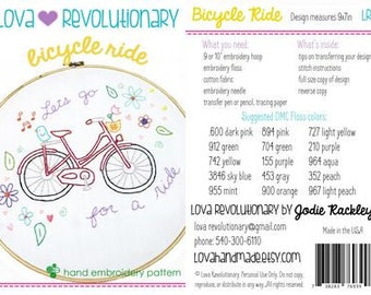 Lova Revolutionary Embroidery PATTERN - Bicycle Ride