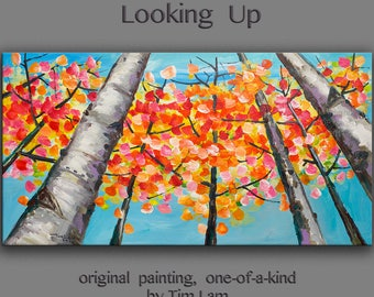 Original art Abstract Painting large Oil Painting, blue sky aspen tree art fall Landscape Painting Look up forest by tim lam 48x24x1.3