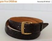 BIG SALE - Vintage Alligator and Cashmere Suede Belt with Gold Buckle - Size 30 - Hickok - Dark Brown