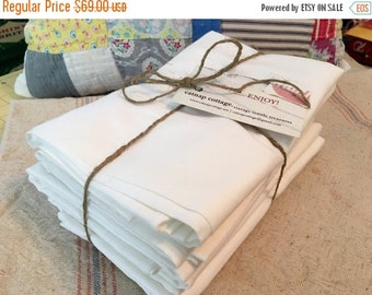HOLIDAY SALE - Vintage Pillowcases - Cotton Muslin Pillow Cases - White - Standard Size - New - Nos