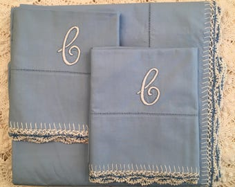 Vintage Bates Monogrammed Sheet Set w/ Tatted Trim - Twin or Full - Sky Blue - New Old Stock - C Monogram