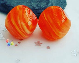 Lampwork Beads Streaky Orange Marmalade Nuggets Pair .... Limited Edition