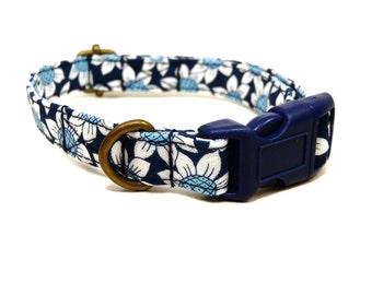 Coachella - Organic Cotton CAT Collar Breakaway Safety - Navy Blue Daisy Daisies Floral - All Antique Brass Hardware