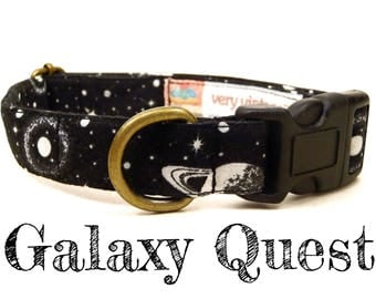 "Sci Fi Dog Collar - Outer Space Dog Collar - Spaceship Planets Outer Space Dog Collar - Antique Brass Hardware - ""Galaxy Quest"""