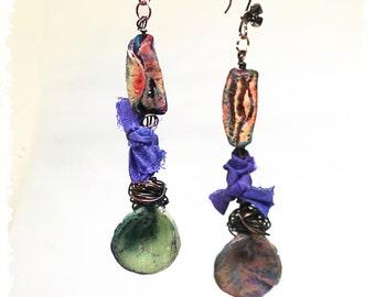 Boho dangle earrings, Polymer clay earrings for women, Mixed media assemblage earrings, Art to wear earrings