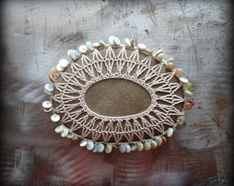 "Lace Stone, Crocheted, ""Linen"" Thread, Table Decorations, Original, Handmade, Home Decor, Beaded, Monicaj"