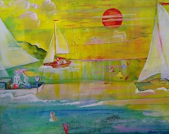 Mermaid, regatta, sailboat, race, nautical, painting, acrylic, fantasy, ocean, Savannah, Dame Darcy,