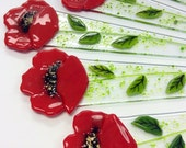 Fused Glass Plant Stake and Garden Stake ( Red Poppy)