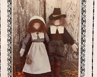 Doll Pattern - Pilgrim Couple Thanksgiving Dolls by Snapdragon Designs