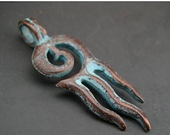 TAX SALE Squid Calamari Pendant Mykonos Greek Antiqued Copper Green Large Hole Bail Pewter Naos